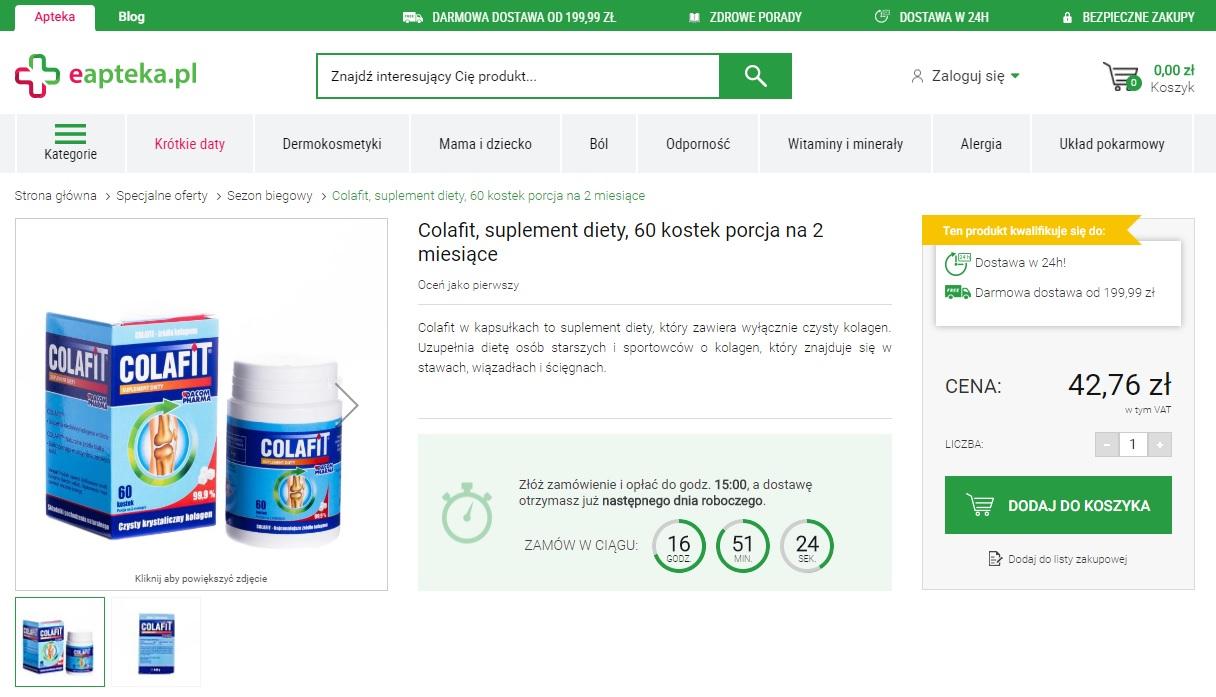 Karta produktu w aptece internetowej - eapteka.pl