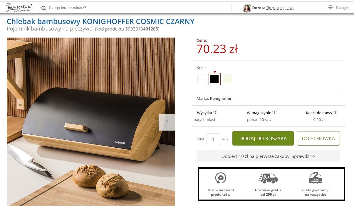 Garneczki.pl - jak komunikować USP w sklepie internetowym