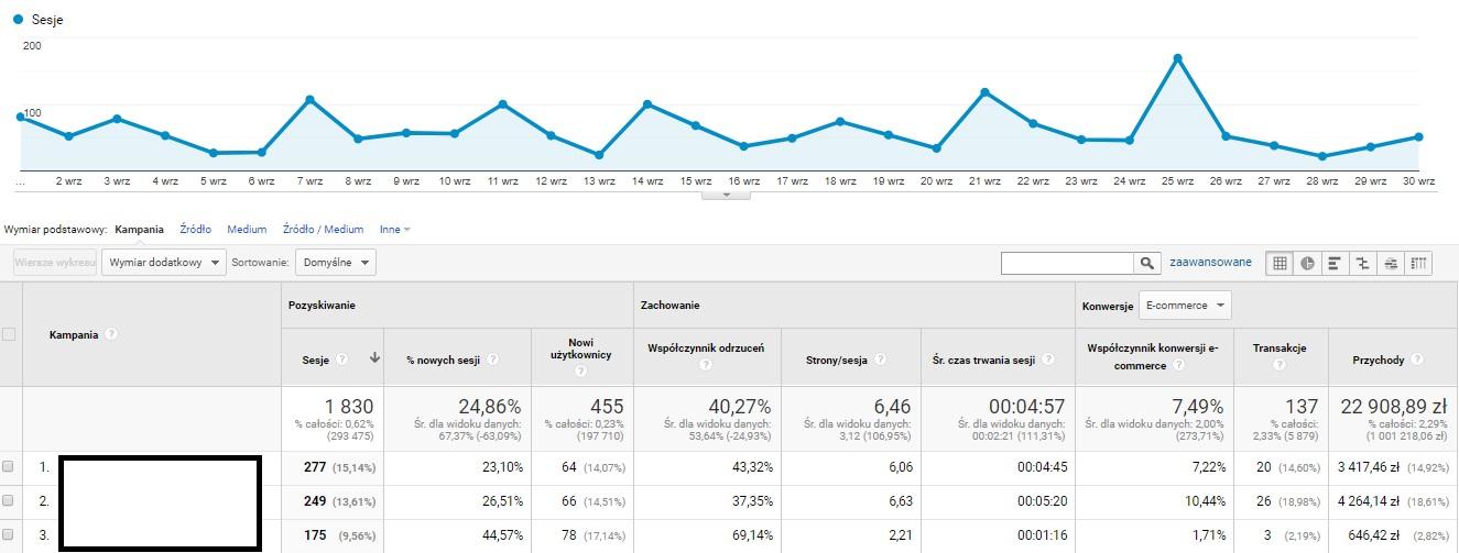 Jak wyglądają wyniki z UTM w Google Analitycs