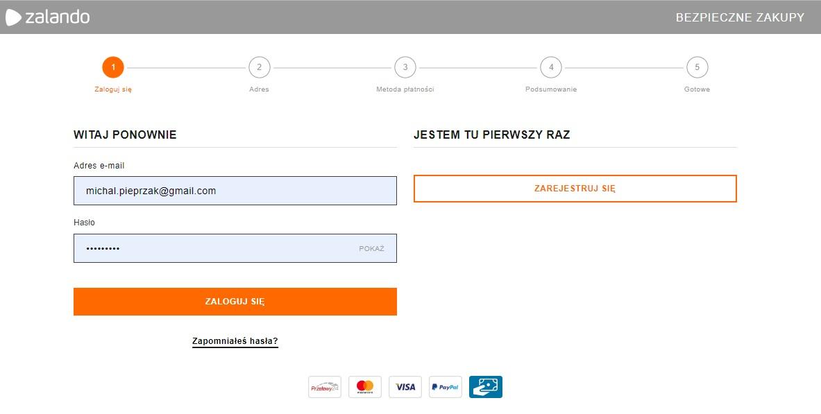 Przykład zastosowania checkoutu kilku etapowego w Zalando