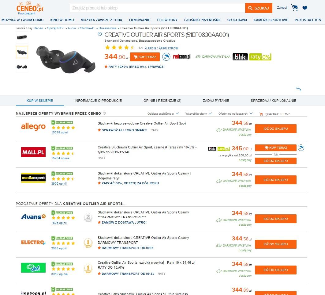 Ceneo - lista z produktami
