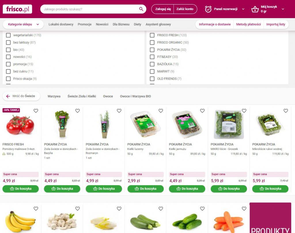 Frisco.pl - przykład zastosowania i działania filtrów produktowych na liście produktów