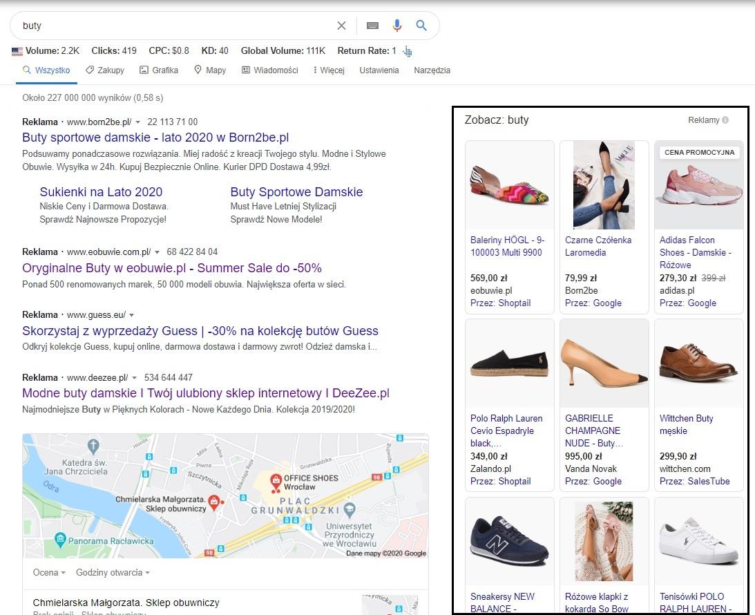 Przykłady reklam Google Ads - kampania PLA (produktowa)
