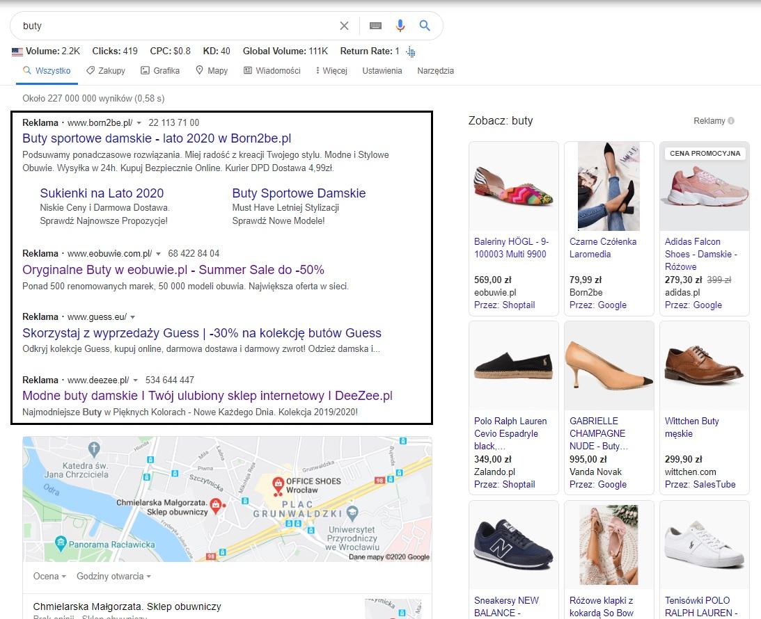 Przykłady reklam Google Ads - kampania search