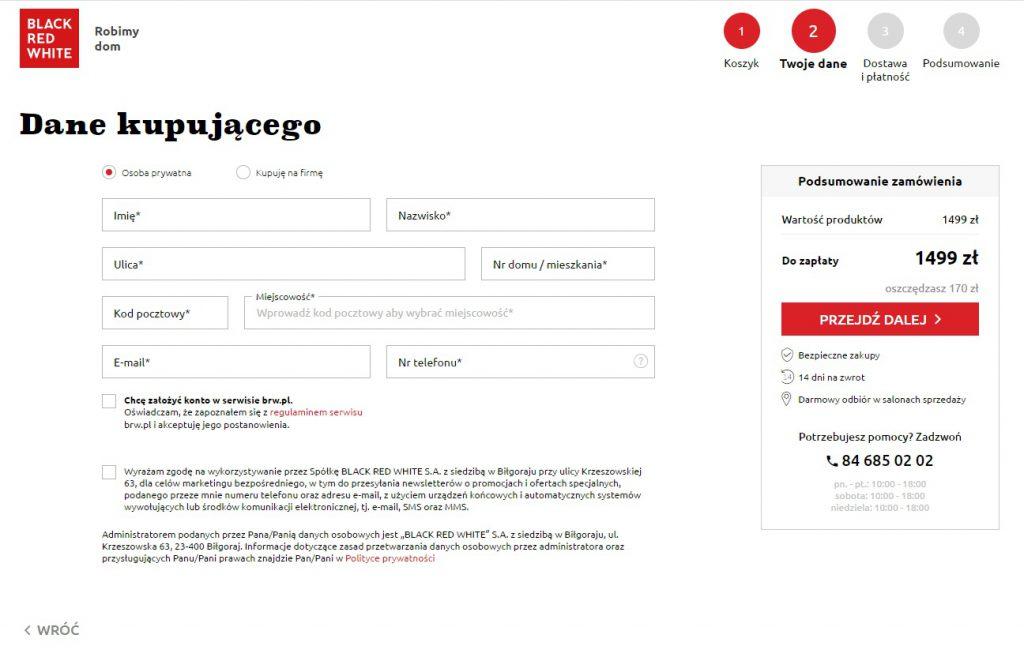 Przykład checkoutu w sklepie internetowym Black Red White