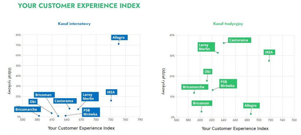 Doświadczenie zakupowe klienta w branży dom i ogród - wykresy dla Online vs offline