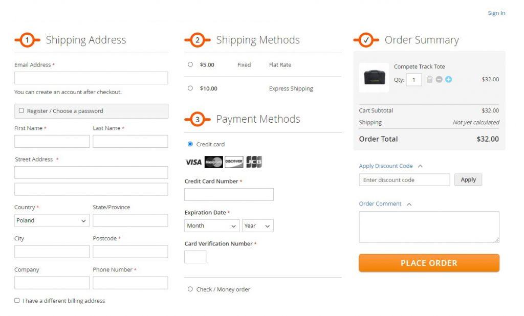 Przykład one step checkout w sklepie internetowym - wersja demo sklepu